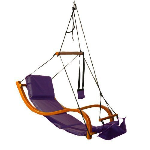 Purple Lounger Air Swing Hammock Chair Wooden Deluxe Outdoor Hanging Patio