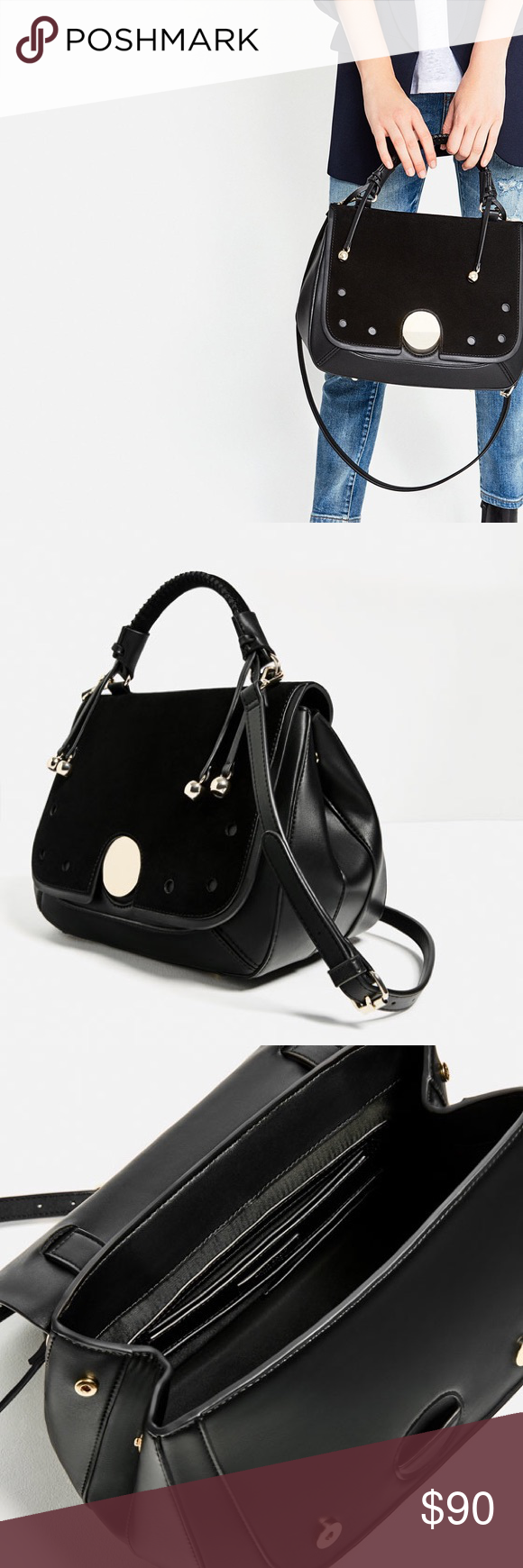 Zara sold out authentic leather bag Spacious bag with messenger straps and  handle Zara Bags e45e1f3f5e