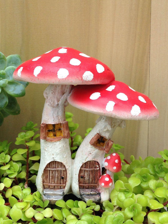 Miniature Dollhouse FAIRY GARDEN ~ Red Mushroom Houses with Pick ...