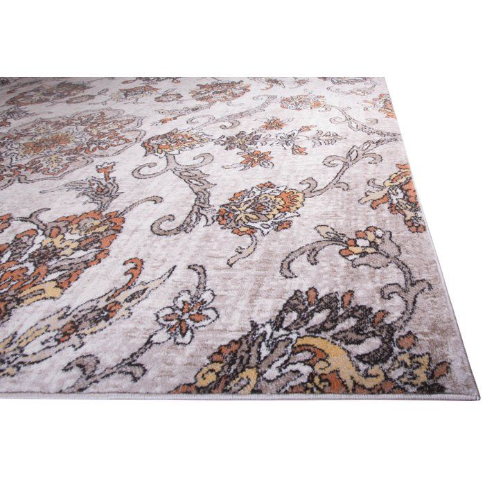 Arend Floral Cream Orange Area Rug Orange Area Rug Rugs Area Rugs