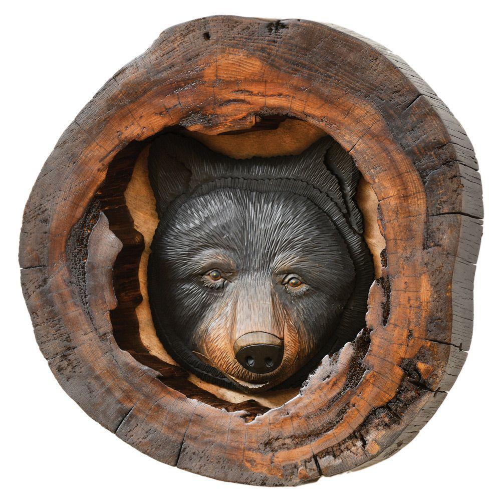 Black Bear Head Wood Carving Wall Art