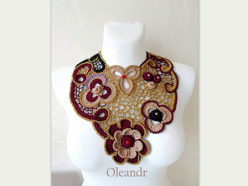 Statement necklace, Elegant bib collar, Irish Crochet flowers collar, Victorian choker Burgundy Gold Black #irishcrochetflowers