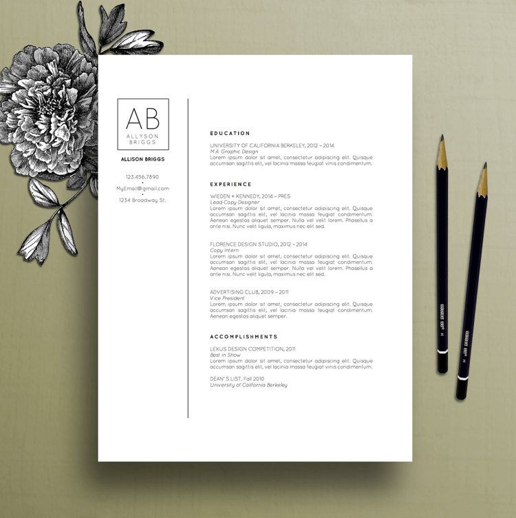 Modern Resume Template, Cover Letter Template, References Template