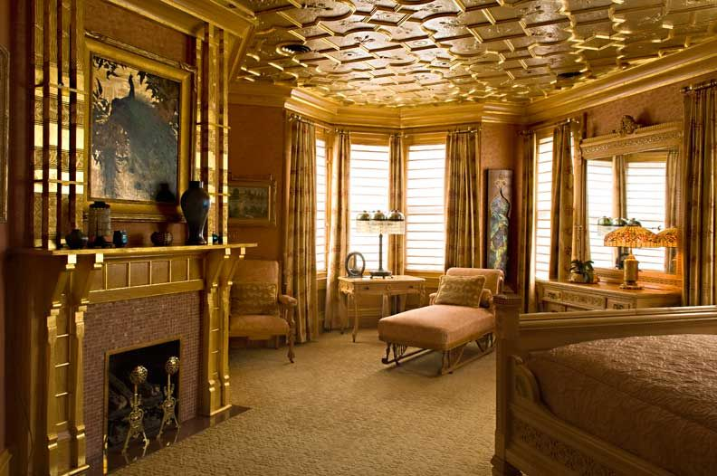 Red Mansion Master Bedrooms image detail for -the master bedroom's gold-leafed wood mantel and