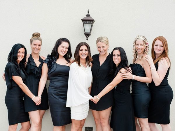 cute idea have the bridesmaids dress all in black so that the bride pops in white