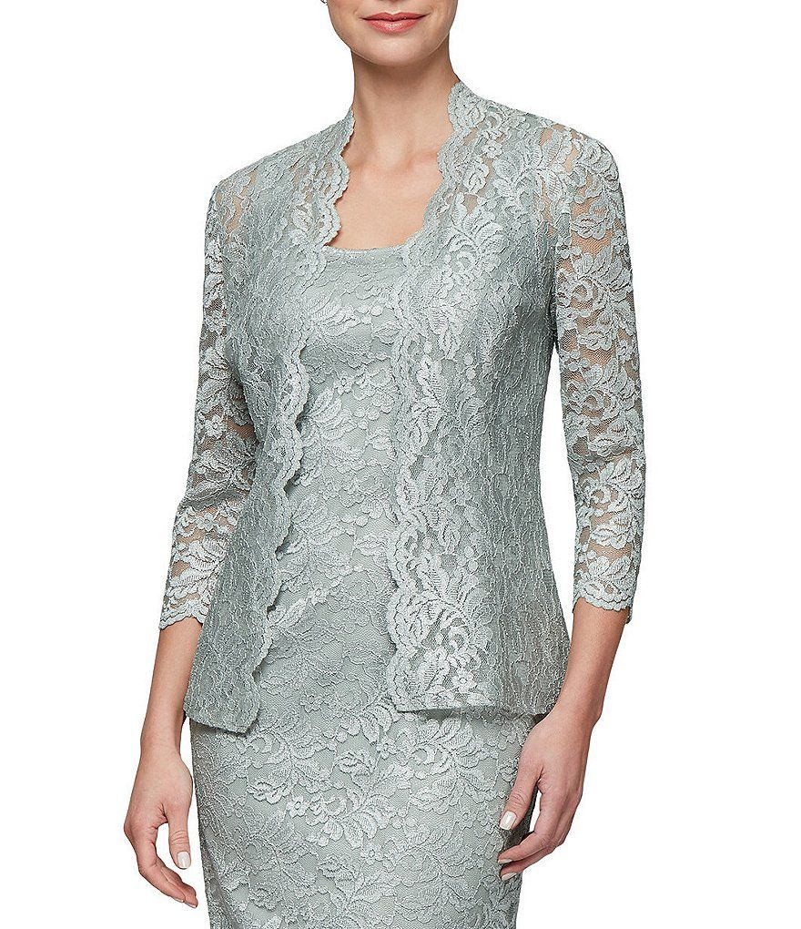 dade51f0b393 Color:Ice Sage - Image 4 - Alex Evenings Illusion Tea Length Jacket Dress
