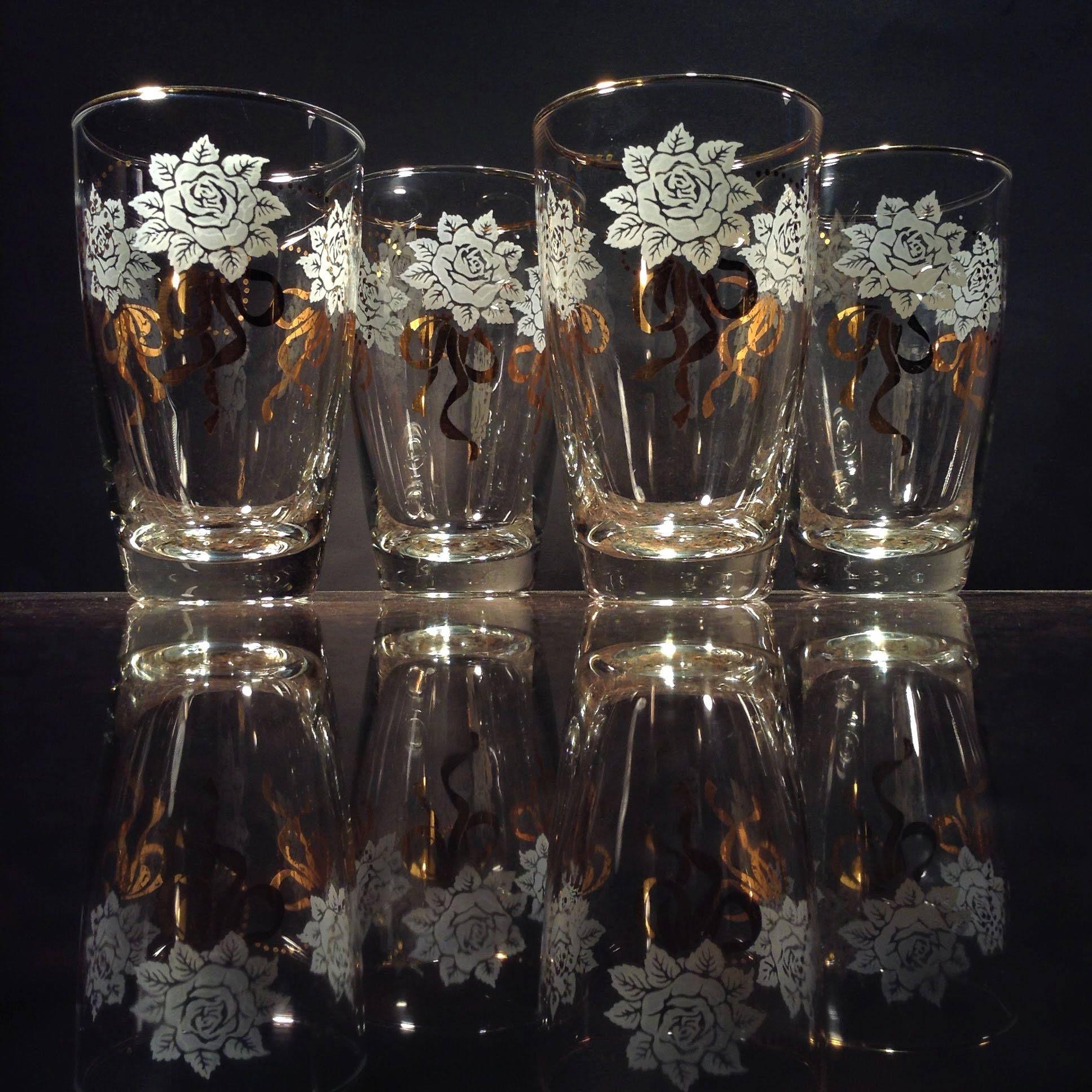 Vintage Glass Tumblers 4 Rose And Ribbon Drinking Glasses Libbey Glass White Roses 22k Gold Ribbon Tumbler Vintage Glassware Rose Gold Ribbon Glass Tumbler