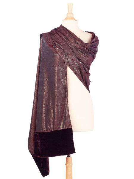 13e35fb3ff78 Add refined sparkle to your look with this taffeta evening wrap. Burgundy  with a metallic silver overall tiny print giving a subtle sheen.