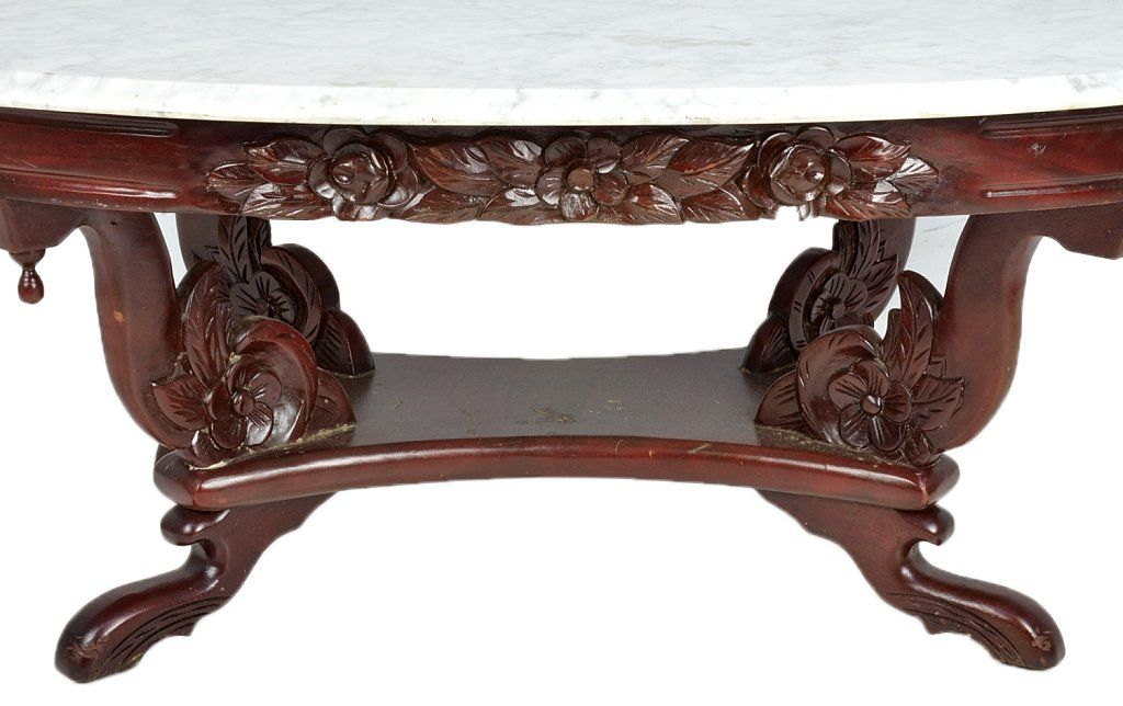 Delicieux Victorian Oval Coffee Table | VICTORIAN STYLE MARBLE TOP COFFEE TABLE : Lot  136