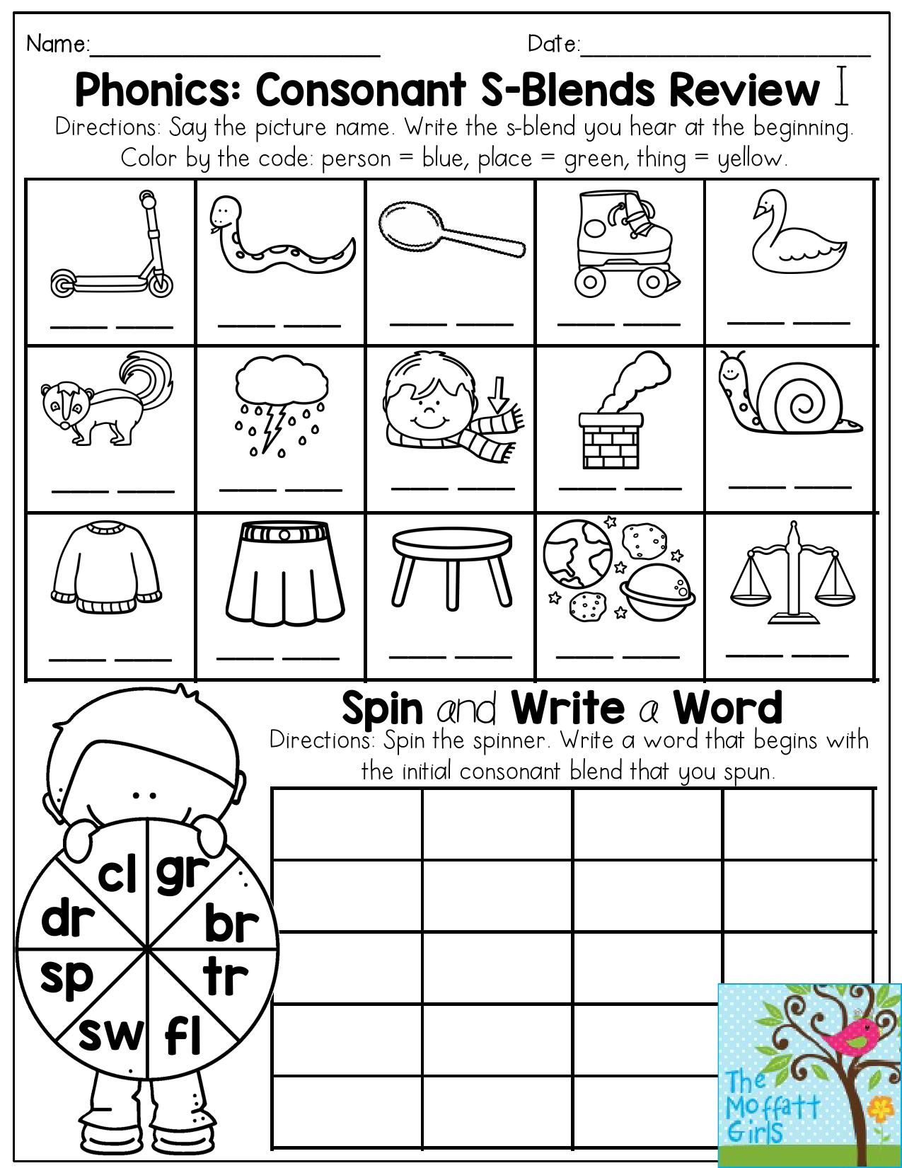Worksheets S Blend Worksheets phonics consonant s blends review write the blend that you hear at beginning of word then spin to a th