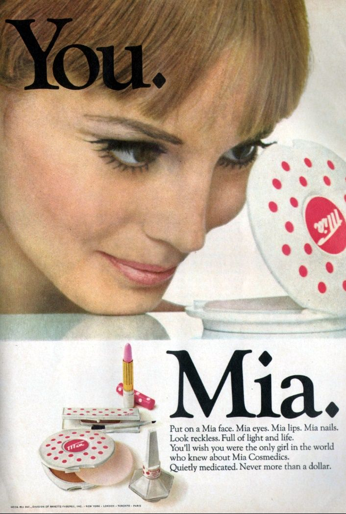 Mia 1967 Vintage makeup ads, Beauty advertising