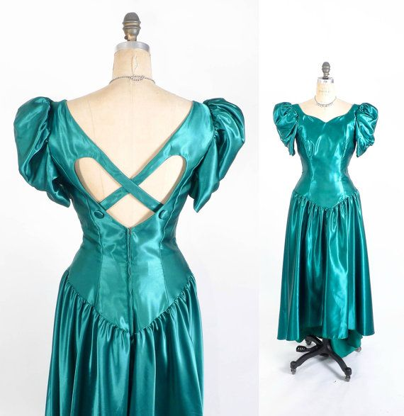 Vintage 80\'s Prom Dress // Teal Fishtail Prom by SwellFarewell ...