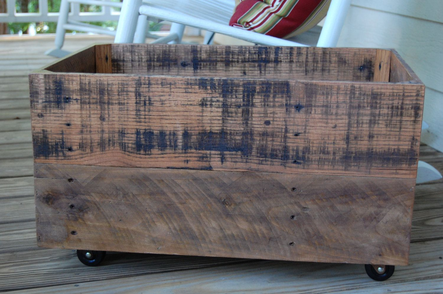 Large Rolling Crate Recycled Pallet. Housey