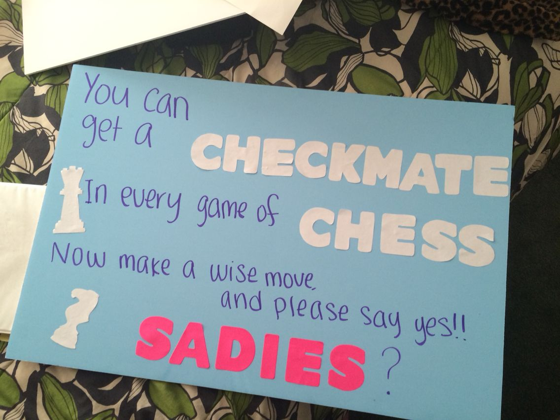 Cute ideas to ask a boy to sadie hawkins - Chess Sadie Hawkins Proposal Asking