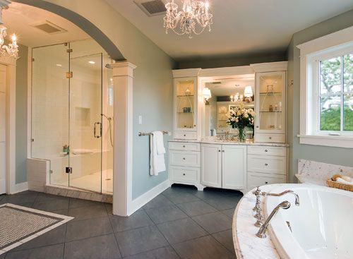 The Large Jetted Tub Roomy Shower Ample Storage Space And Openness Make This A Winning Bathroom Large Bathroom Design Modern Large Bathrooms Big Bathrooms