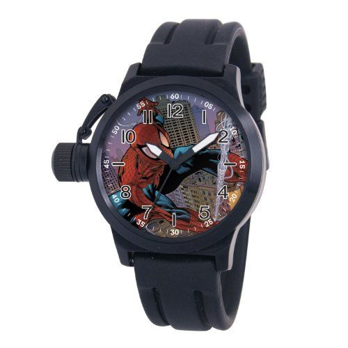 """Marvel Comics Men's MA0707-D485-BlackRubber 'Spider-Man' Crown Protector Watch Marvel Comics. $62.99. Men's marvel """"crown protector"""" watch; Case diameter: 44 mm; Rubber strap; Marvel character featured on dial; Water-resistant to 99 feet (30 M)"""