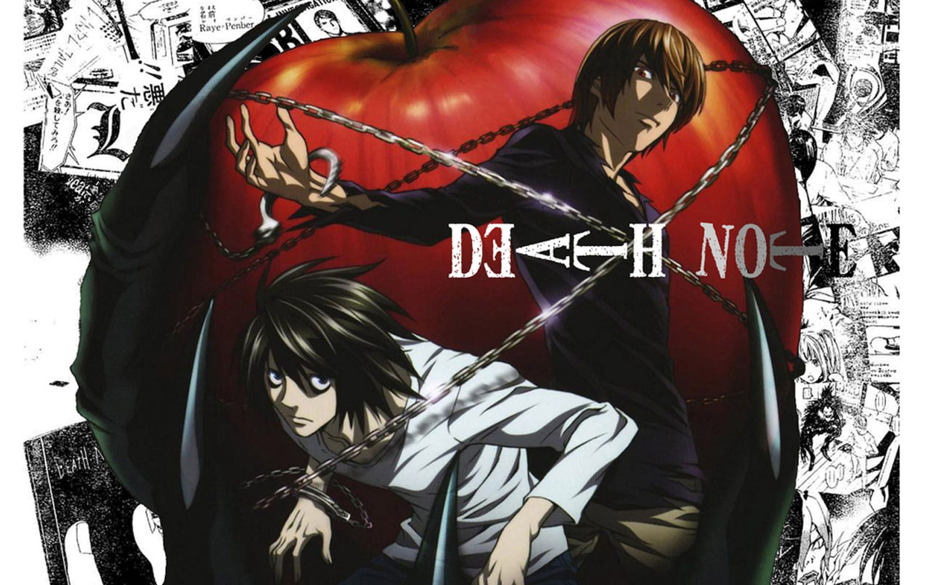 Death Note L and Light Yagami Apple Background Wallpaper