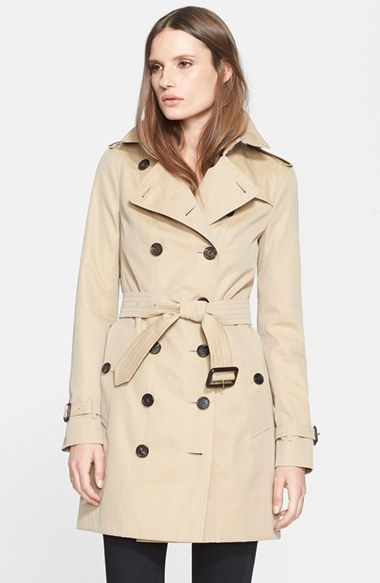Size 4 Honey Color Burberry London 'Sandringham' Slim Trench Coat available at #Nordstrom