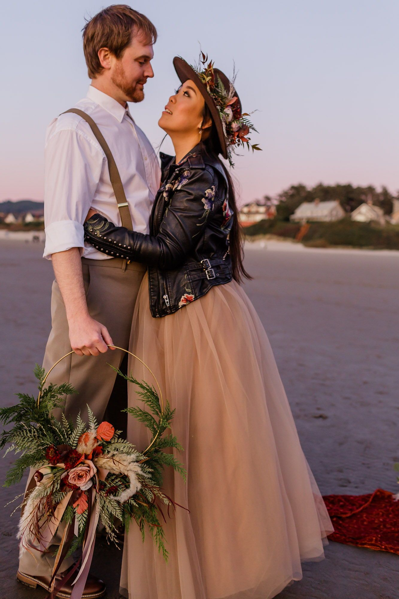 Styled Fall Elopement at Cannon Beach, OR. Perfect for those bride + grooms who want to go the untraditional route. . . . Bridal wreath and floral hat: Knot & Fern Hair and Makeup: Underwood Makeup Embroidered Jacket: Blank NYC Bridal tutu and velvet top: Opal and June