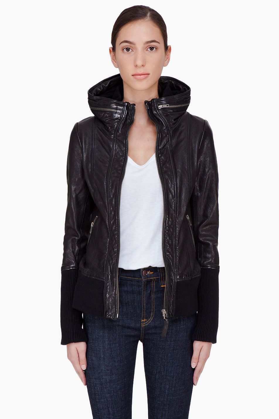 MACKAGE Black Hooded Leather Jacket Ensemble Leather