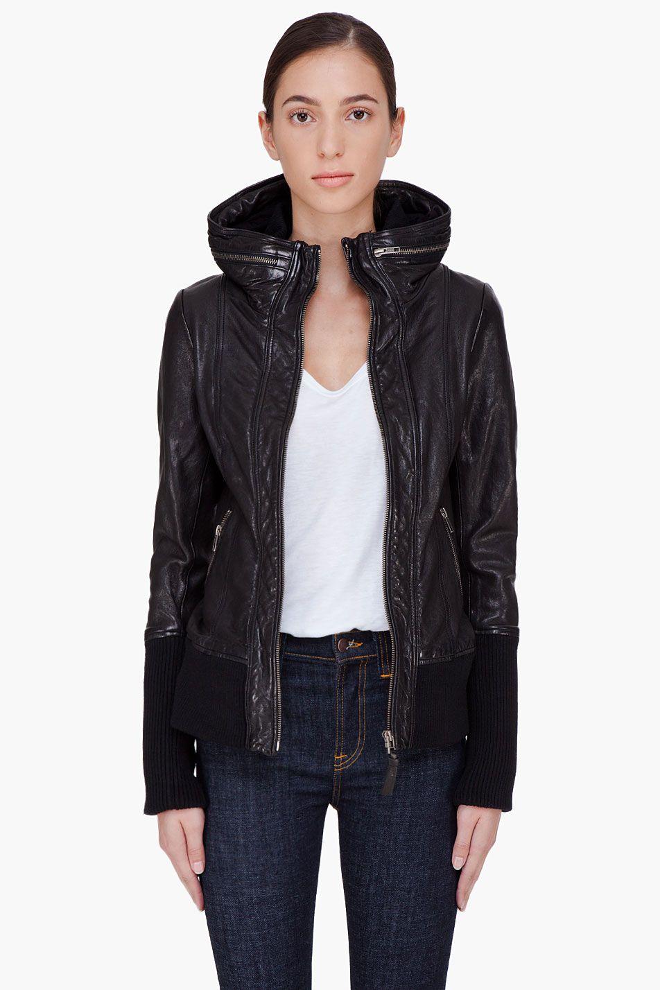 MACKAGE Black Hooded Leather Jacket Ensemble Leather