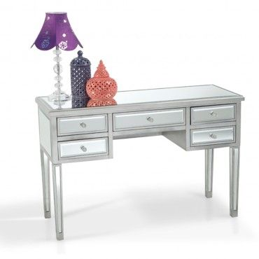 5 Drawer Mirrored Desk Hollywood Glam Mirrored