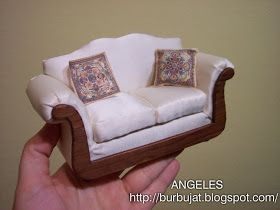 miniatures miniature handmade sofa english chairs by lea double couch to how realistic ann seated pinterest pin make dollhouse on