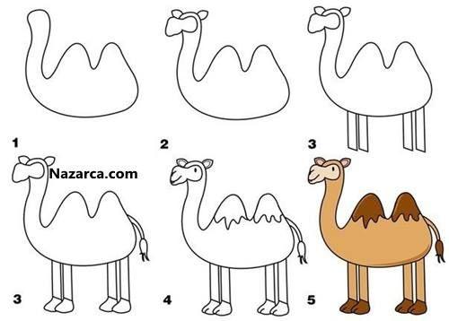 Kolay Deve Resmi Nasil Yapilir Cizim Hayvan Cizimi Drawing Lessons