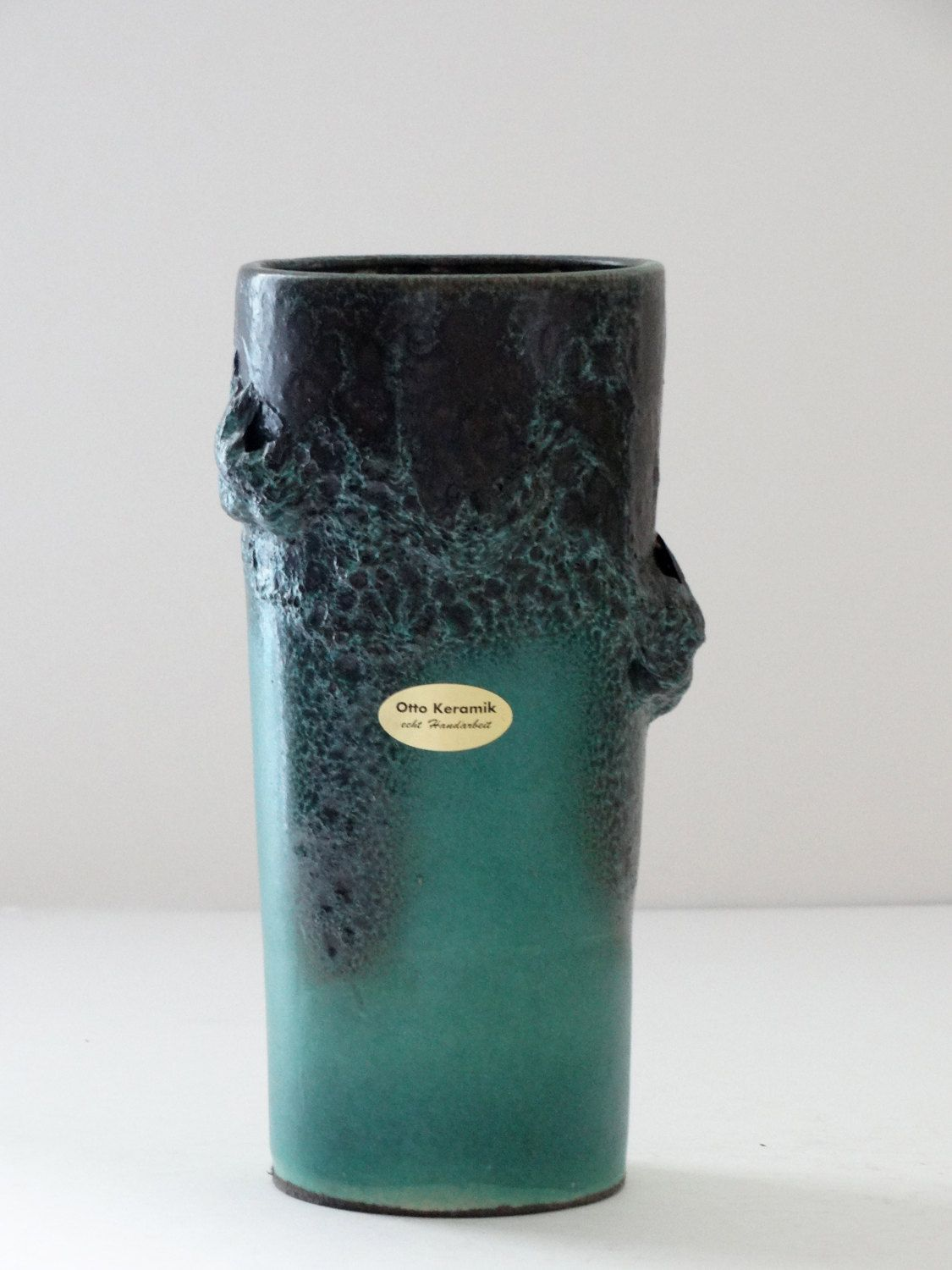 otto keramik mid century rare teal black fat lava west german vase by pastercorte on etsy. Black Bedroom Furniture Sets. Home Design Ideas