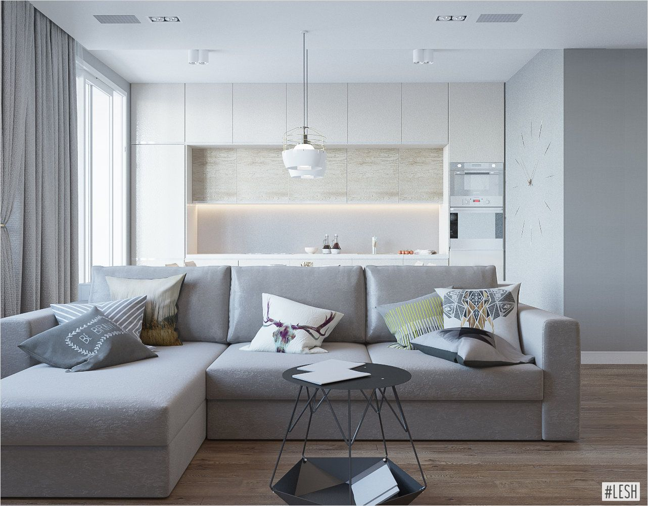 Кухня-гостиная в стиле минимализм   Гостиная в стиле ...