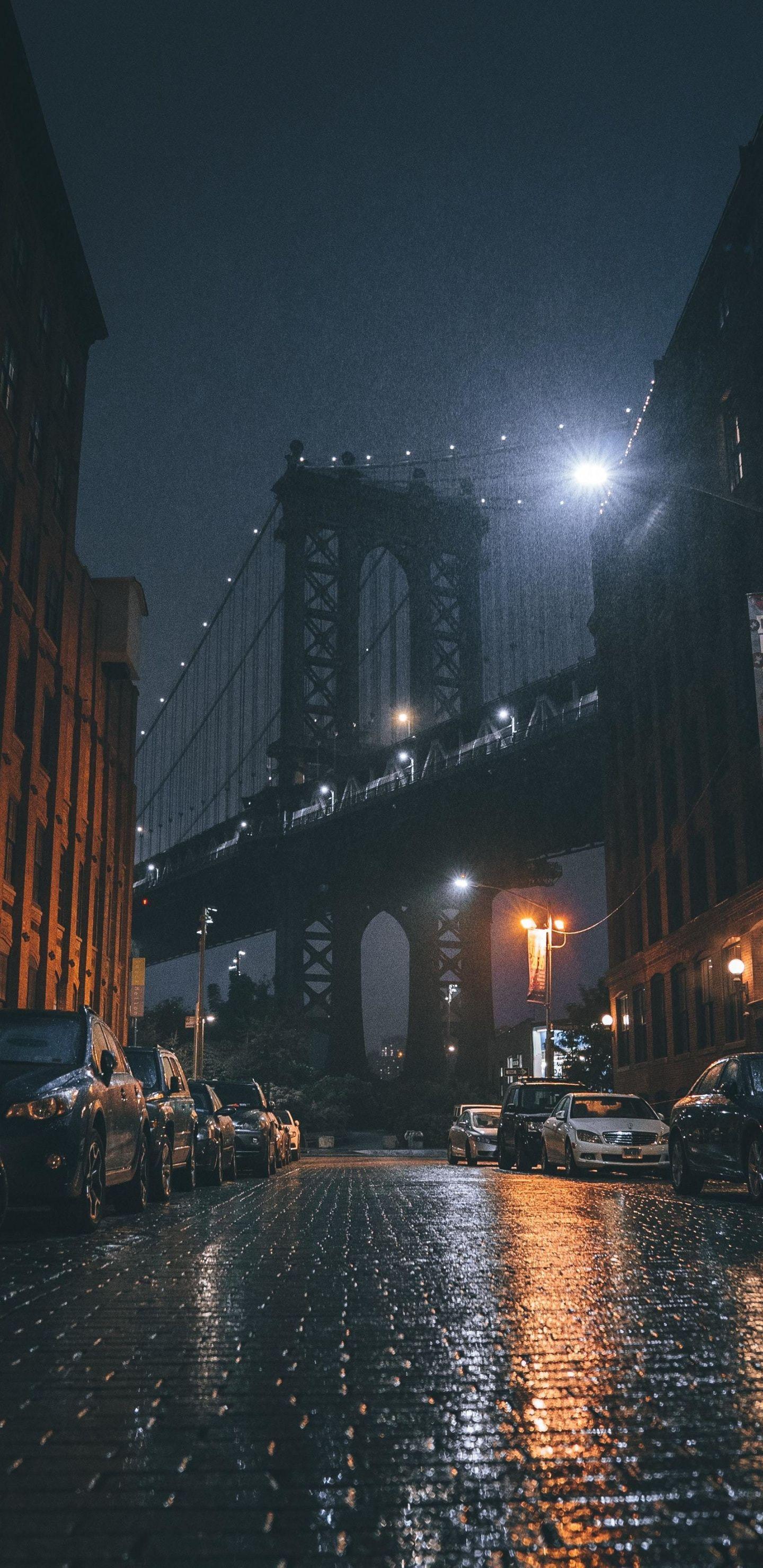 1440x2960 Sidewalk Near Bridge City Night Wallpaper City Aesthetic City Wallpaper Night Aesthetic