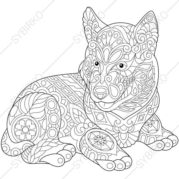 Adult Coloring Page. Siberian Husky Dog. Zentangle Doodle Coloring ...