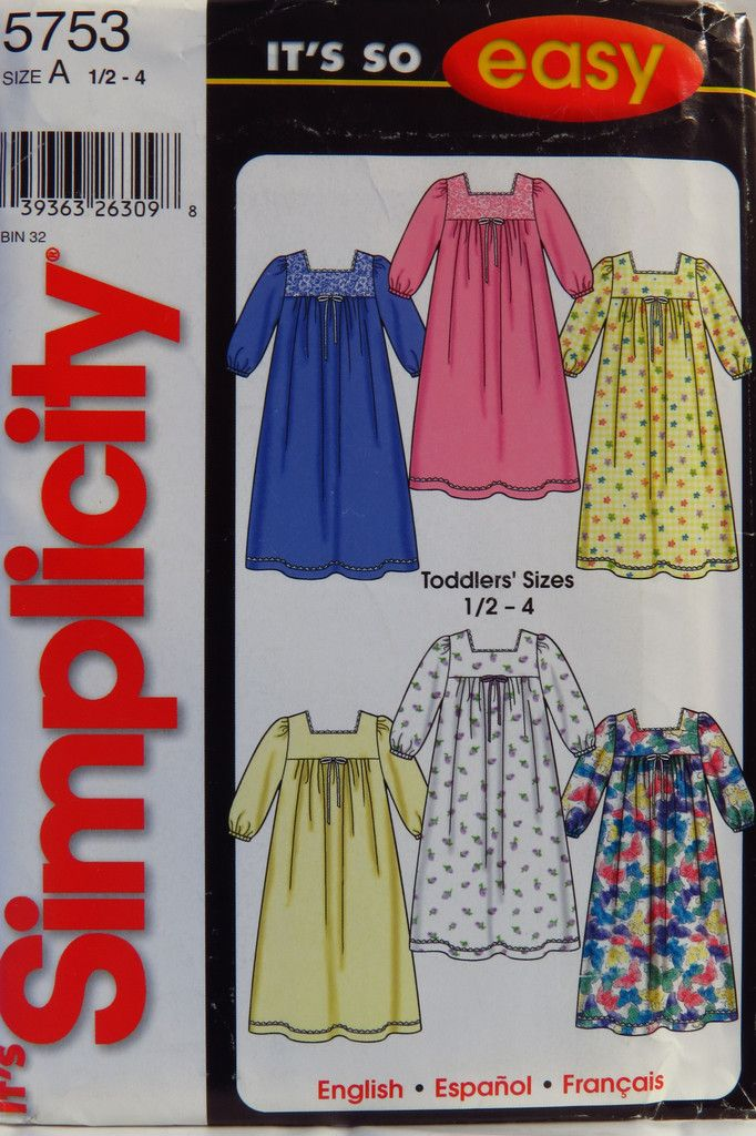 c6a46335a539 Simplicity 5753 Toddler s Nightgown Toddler Nightgown