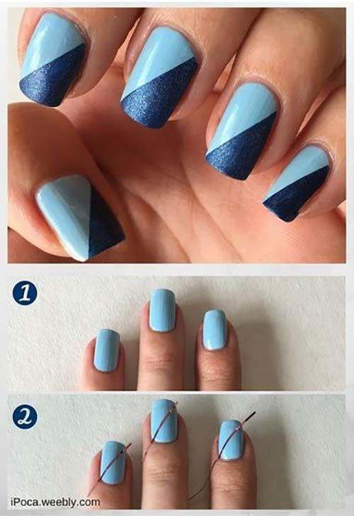 25 Easy Nail Art Designs Tutorials For Beginners 2019 Update Nail Art For Beginners Blue Nail Art Designs Blue Nail Art