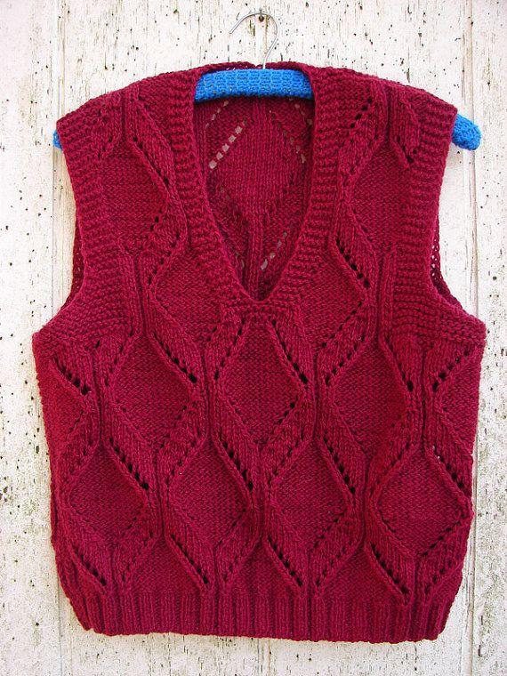 Hand Knit Vest | Rojo intenso, El vino y Por favor