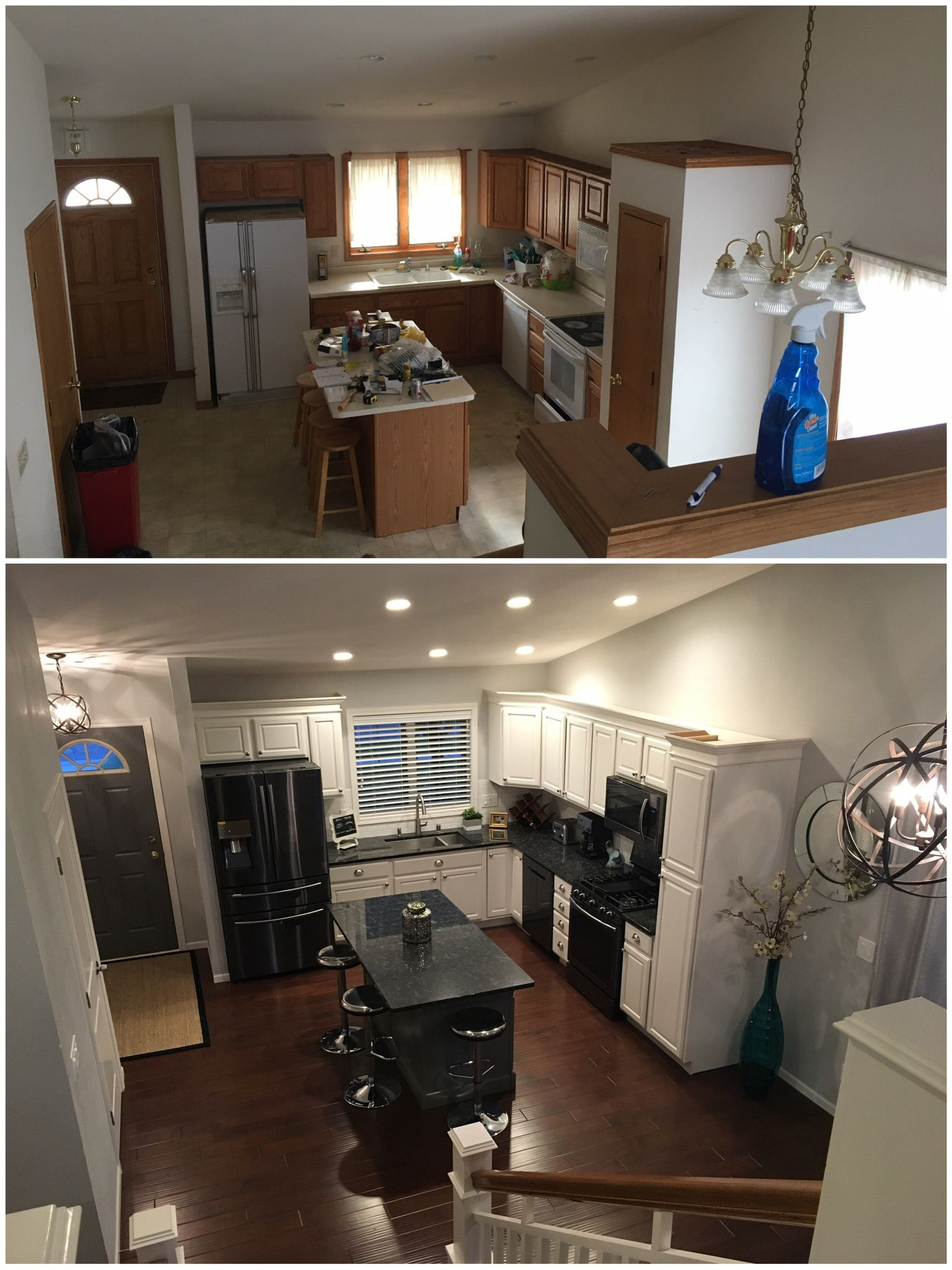 My Diy Kitchen Remodel Before And After Tri Level House Sherwin Williams Painted Oak Cabinets In Marshmallow Diy Kitchen Remodel Diy Kitchen Kitchen Remodel