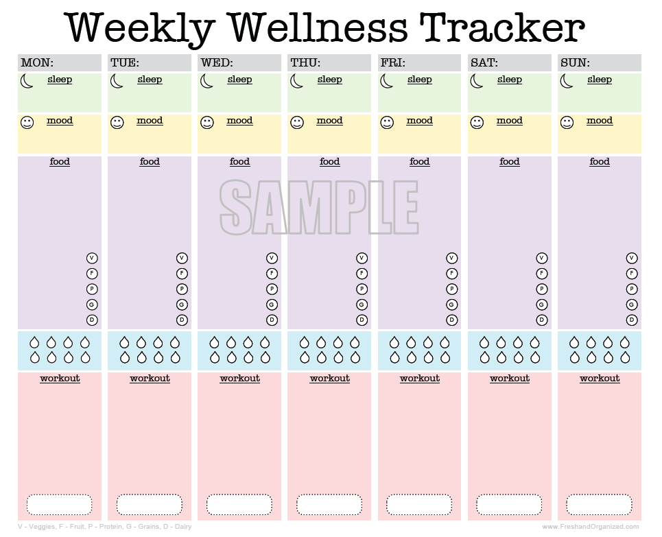 Weekly wellness tracker activity log sleep diary food for Make a planner online