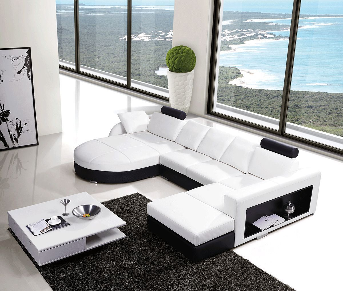 round white leather sectionals