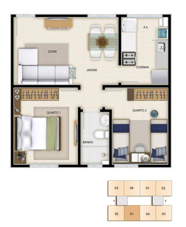 Plantas de apartamentos pequenos 9 pinteres for Fachadas para apartamentos pequenos