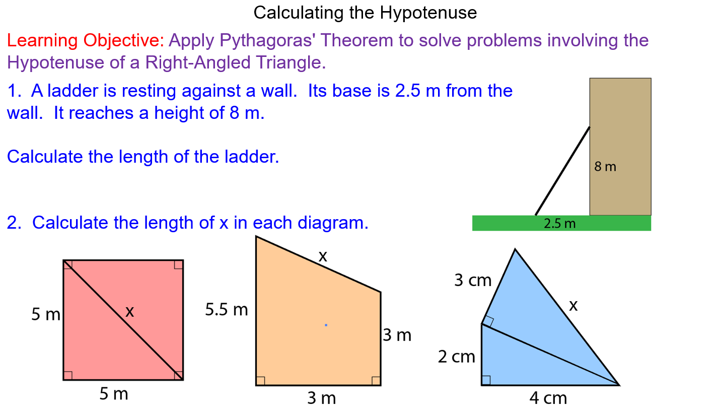 Pythagoras Theorem Finding The Hypotenuse Theorems Math Lessons Learning Objectives [ 808 x 1438 Pixel ]