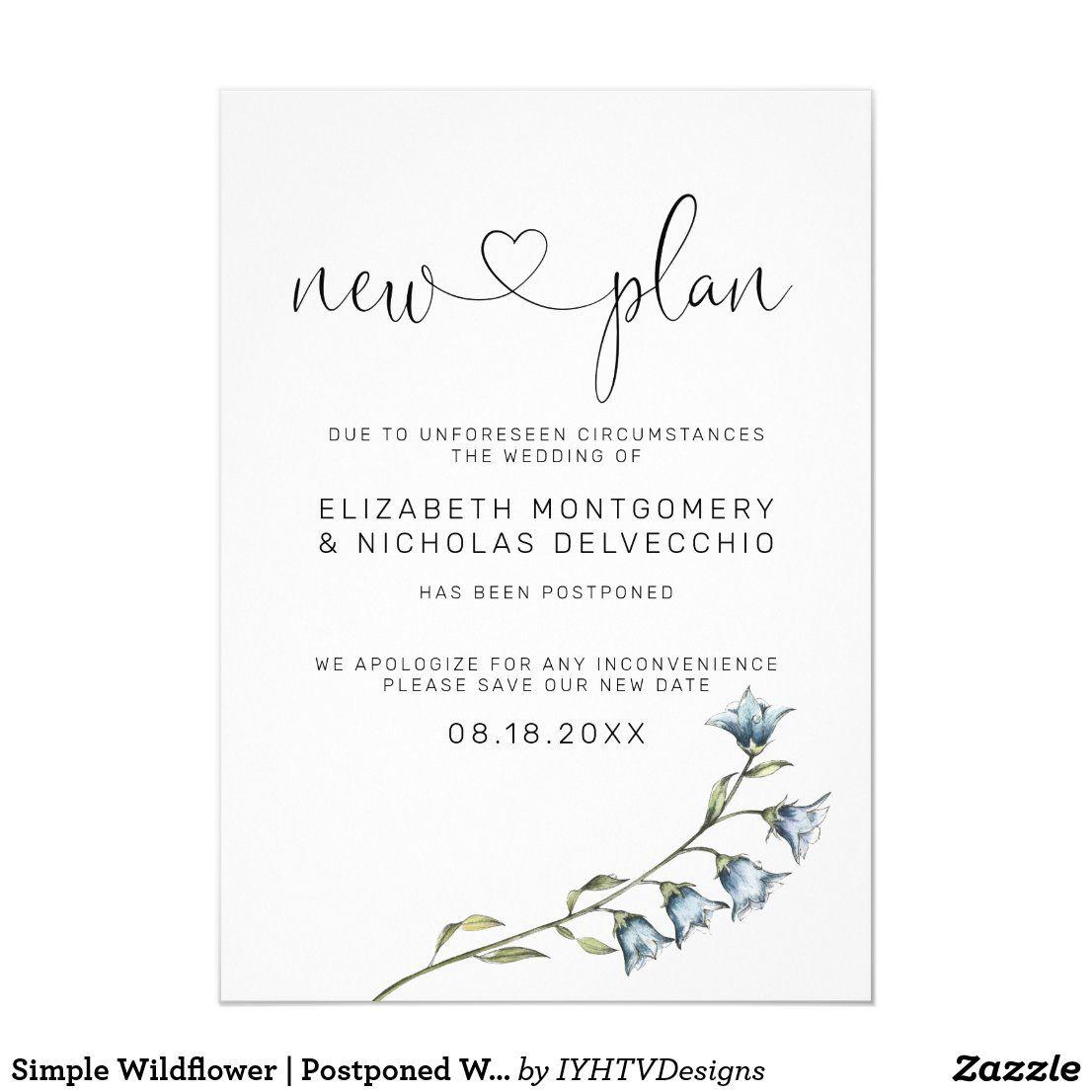 Simple Wildflower Postponed Wedding Announcement Zazzle Com In 2020 Wedding Announcements Simple Wedding Invitations Cheap Simple Wedding Invitation Wording