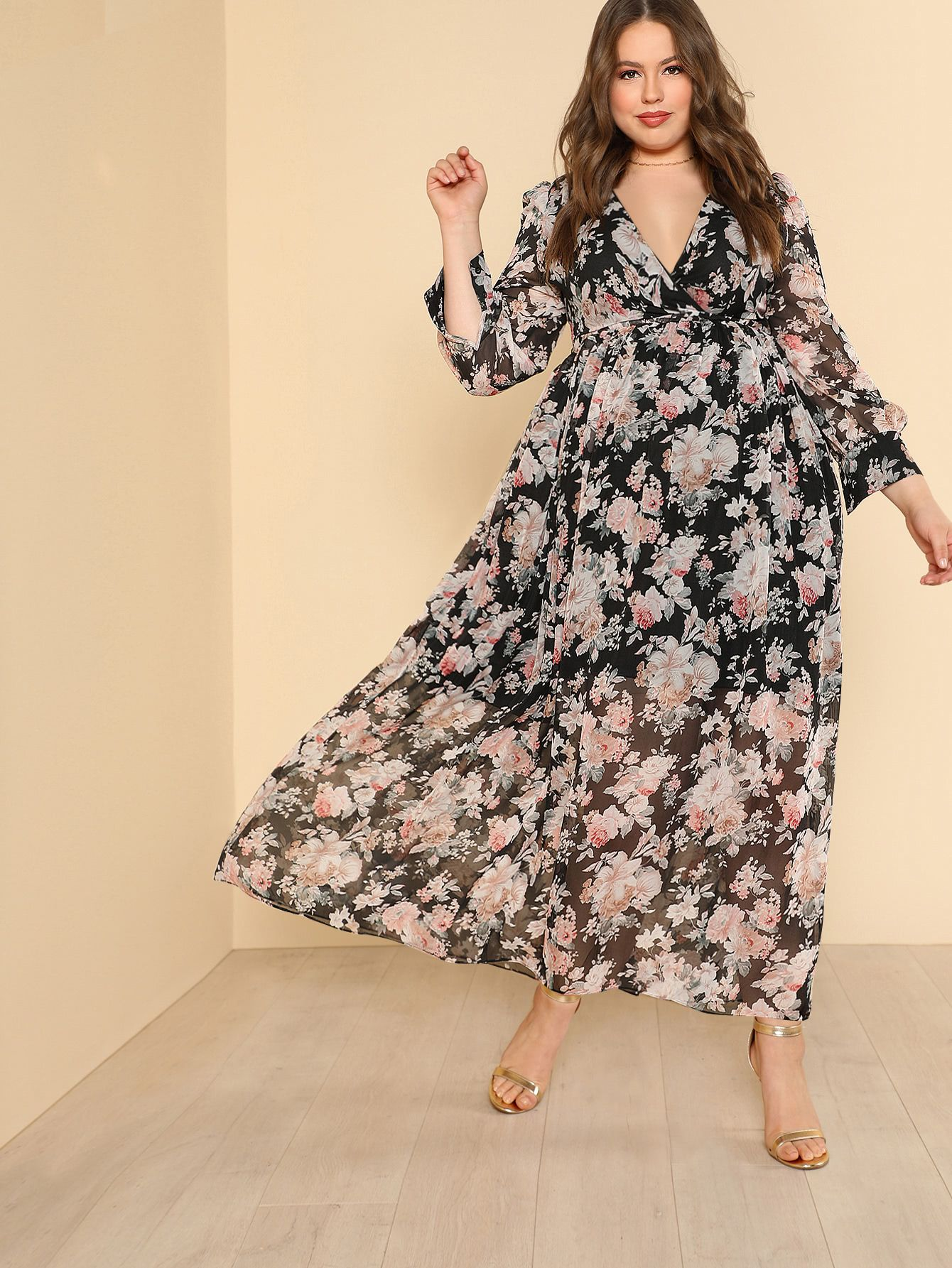 Plus self belted floral maxi dress makemechiccom casual wear
