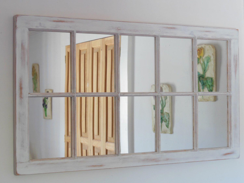 White Distressed Framed Mirror Window Mirror Window Pane Window Sash Mirror Shabby Chic Mirror Rustic Wood Mirror Shabby Chic Mirror Window Mirror Rustic Window