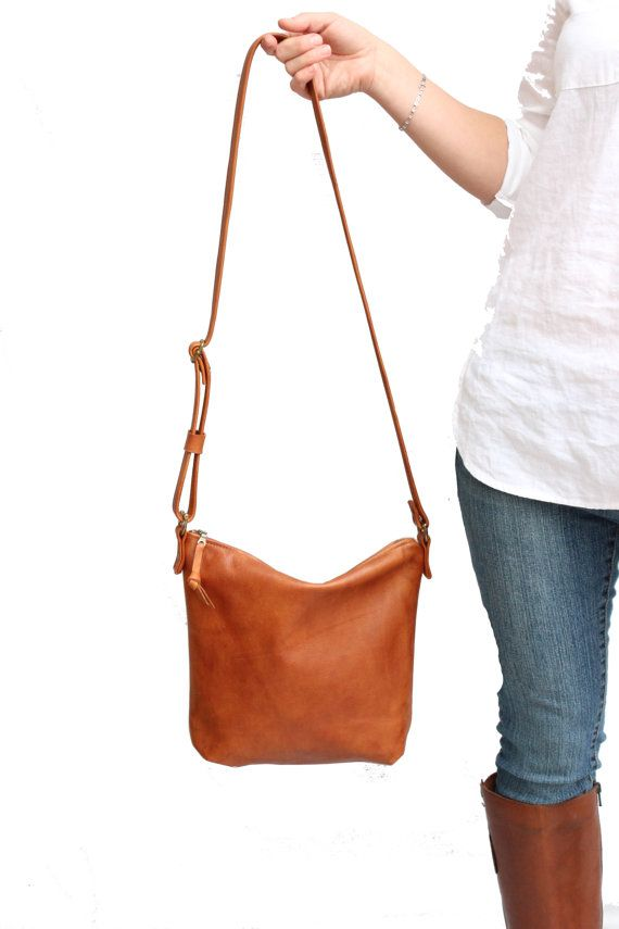 Light Cognac Leather Crossbody Bag, Large Tan Leather Short Strap ...