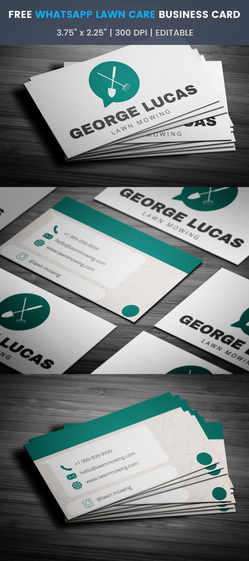 Whatsapp Themed Lawn Care Business Card - Full Preview | Free ...