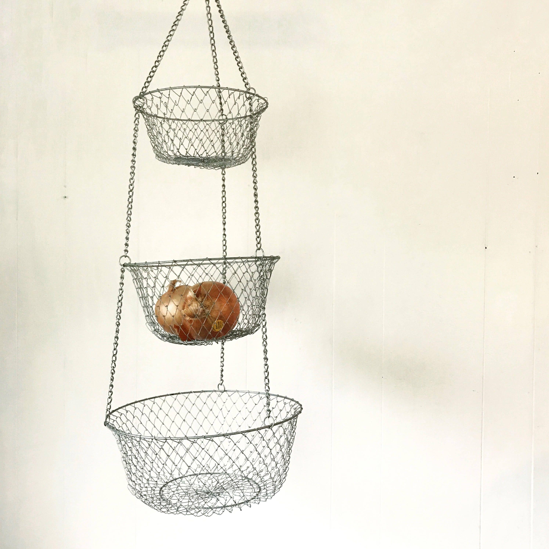 Vintage Wire Hanging Basket   Fruit Vegetable   Metal Kitchen Food Storage