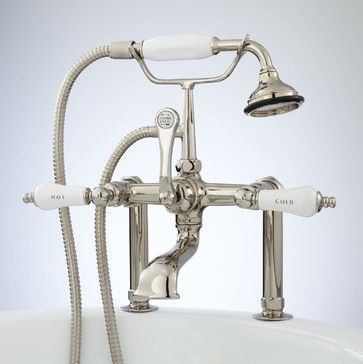 TALL DECK-MOUNT TELEPHONE TUB FAUCET AND HAND SHOWER - PORCELAIN LEVER HANDLES - The deck-mount Telephone Tub Faucet features shapely lever handles, hot and cold indicators, and a porcelain hand-held shower.