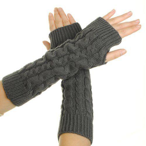 Winter Christmas Gift Knitted Long Fingerless Gloves Red Silver Sparkle