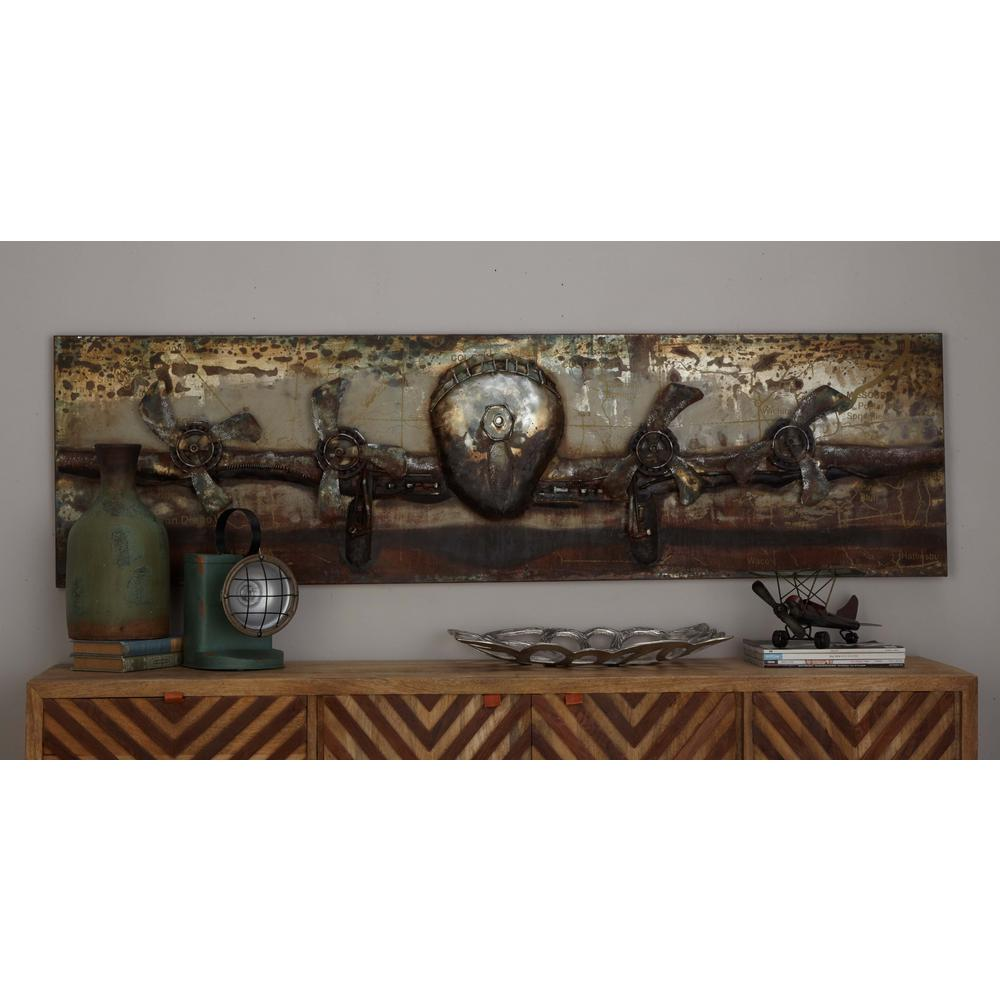 Litton Lane 20 In X 71 In Vintage 3d Iron Airplane Wall Art