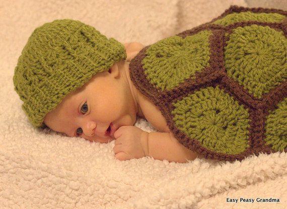 CROCHET PATTERN turtle shell hat beanie baby by EasyPeasyGrandma
